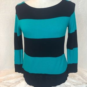J. Crew teal navy striped crew neck sweater. XS